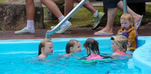Our girls playing in Hastings Thermal Pool, Tasmania, January 2013