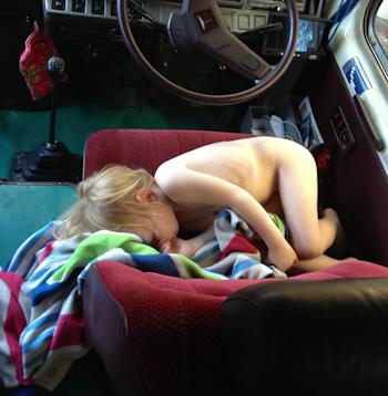 Delaney asleep on the drivers seat, January 2013