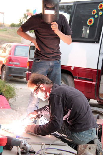 Micah and Travers Colledge welding, January 2013