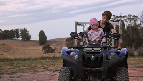 Brioni and Micah and a quad bike, January 2013