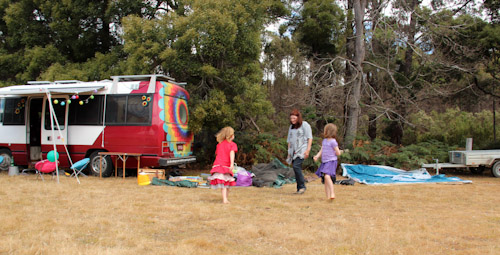Setting up camp at Tasmanian Circus Festival, January 2013