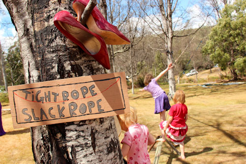Tightrope at Tasmanian Circus Festival, January 2013