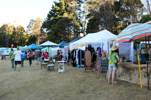 Market stalls at Tasmanian Circus Festival, January 2013