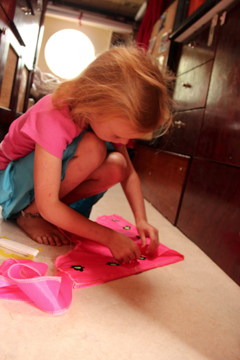 Brioni puts together her kite, January 2013