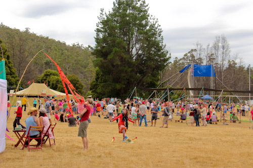 Crowds at Tasmanian Circus Festival, January 2013