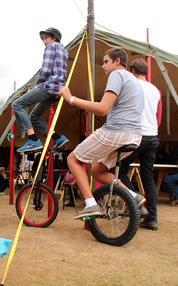 Boys on unicycles, Tasmanian Circus Festival, January 2013
