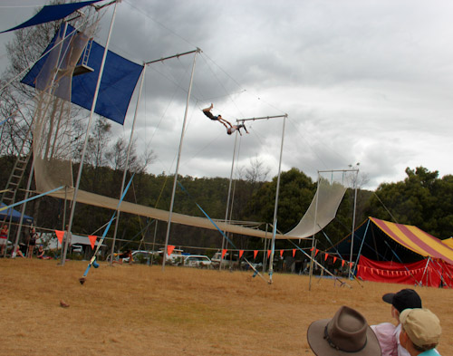 Aerial trapeze artists at Tasmanian Circus Festival, January 2013