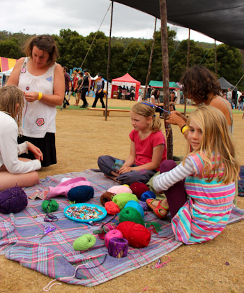 Elena wrapping hair at the Tasmanian Circus Festival, January 2013