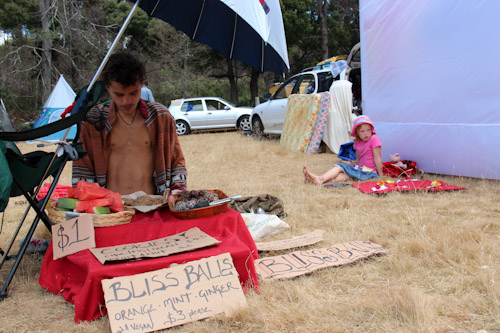 Giles and Brioni selling items at the Tasmanian Circus Festival, January 2013
