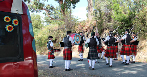 City of Hobart Highland Pipe Band warming up, Middleton, Tasmania, February 2013