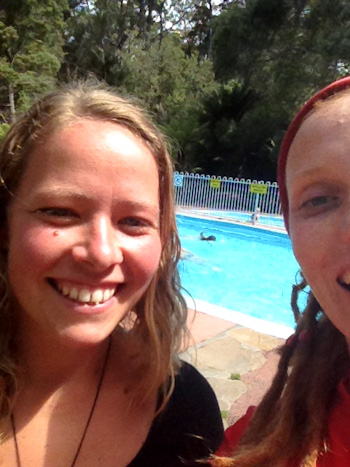 Elke Scott and Lauren Fisher, Hastings Thermal Pool, February 2013