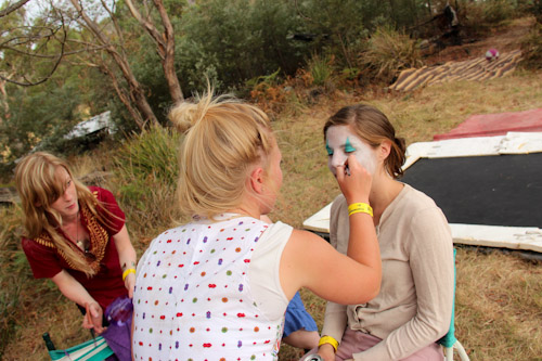Face-painting at Fractangular, Buckland, Tasmania, February 2013