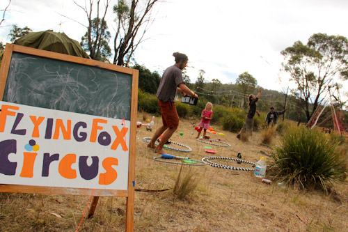Flying Fox Circus at Fractangular, Buckland, Tasmania, February 2013