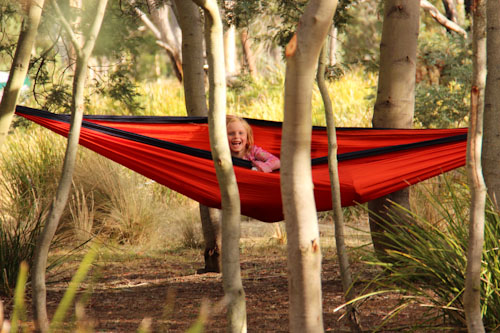 Brioni in a hammock at Fractangular, Buckland, Tasmania, February 2013