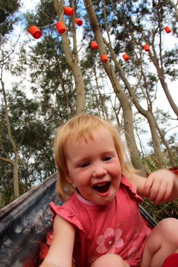 Delaney playing in a hammock, February 2013