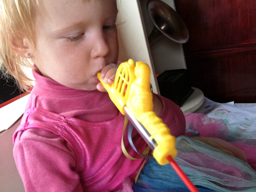Delaney with a slide-whistle, February 2013