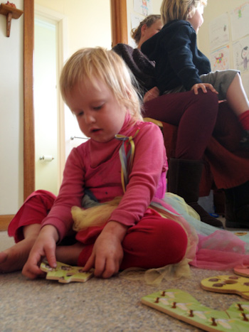 Delaney doing a puzzle at the Hobart Natural Learners Co-op, Taroona, Hobart, February 2013
