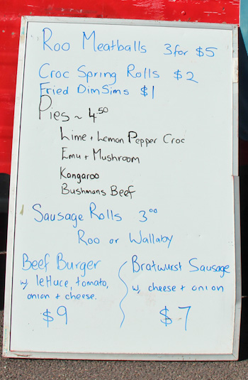 Australian menu, Didge Festival, Melbourne, March 2013
