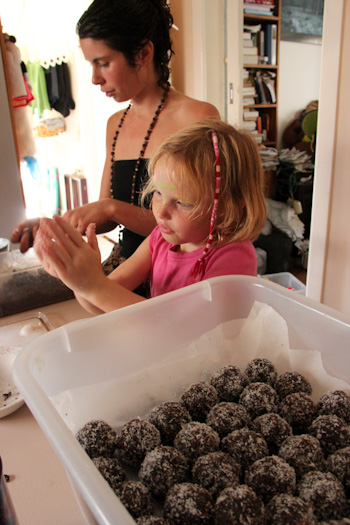Nirmala and Brioni rolling bliss balls, February 2013