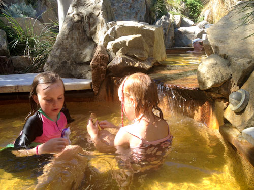 Aisha and Brioni playing at Peninsula Hot Springs, Rye, Victoria, March 2013