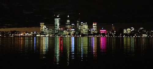 Perth skyline at night, July 2013