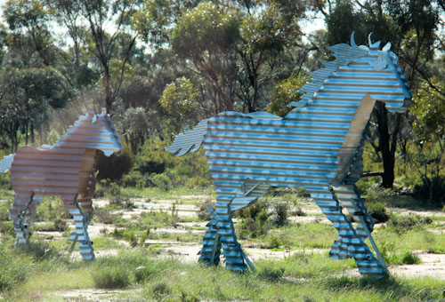Whimsical metal horse sculptures on the Tin Horse Highway outside Kulin, Western Australia, August 2013