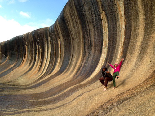 Marcus and Brioni on Wave Rock, August 2013