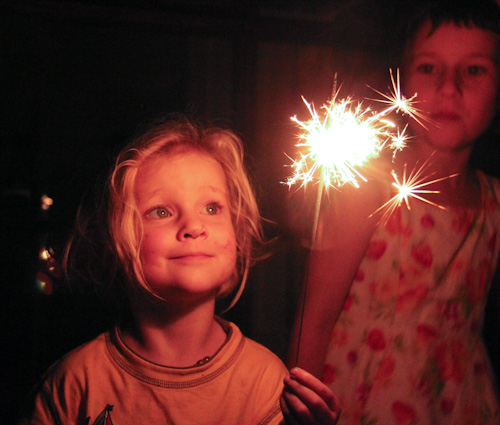 Meghan with a sparkler, August 2013