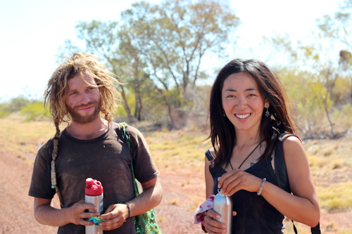 Filo and Ayano, walking across Australia, Barkly Highway, Northern Territory,August 2013