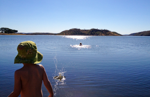 Swimming in Lake Moondera, Mount Isa, Queensland, August 2013