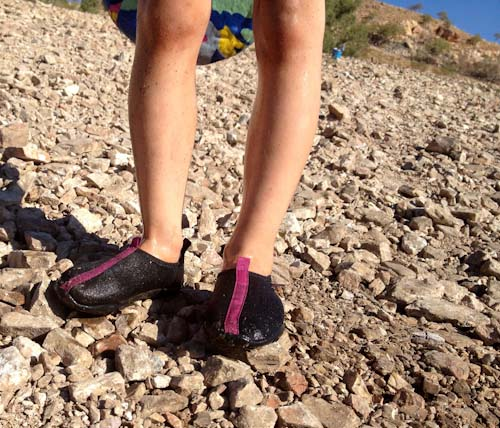 Wearing shoes on the shore of Lake Moonderra, Mount Isa, August 2013