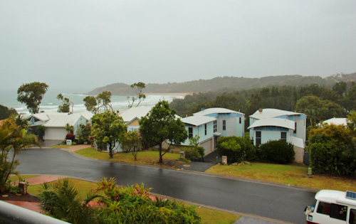 View of Diggers Beach through the rain, Coffs Harbour, October 2013