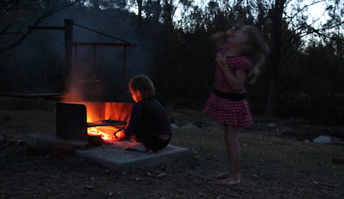 Making a fire while camping at Mann River Nature Reserve, October 2013