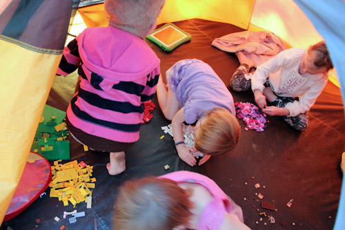 Girls playing with Lego, August 2014