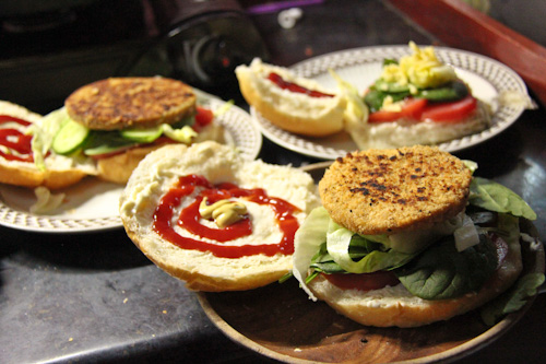 Homemade vegie burgers, August 2014